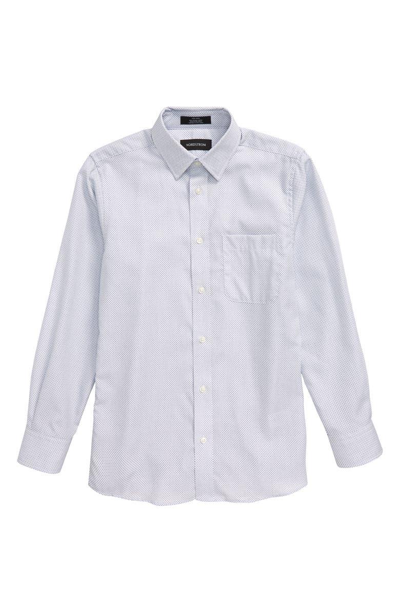 NORDSTROM Geometric Dress Shirt, Main, color, WHITE- BLUE PLUS