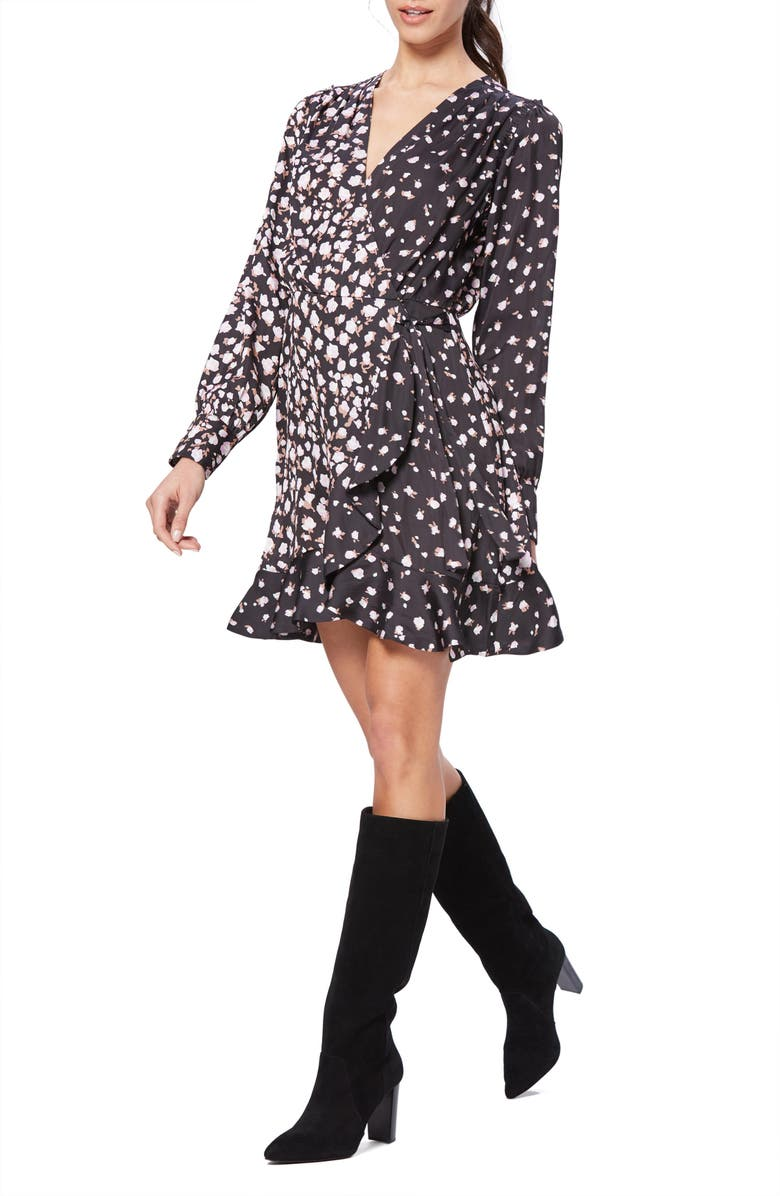 PAIGE Carrie Ann Floral Long Sleeve Wrap Dress, Main, color, BLACK/ FRAGRANT ROSE