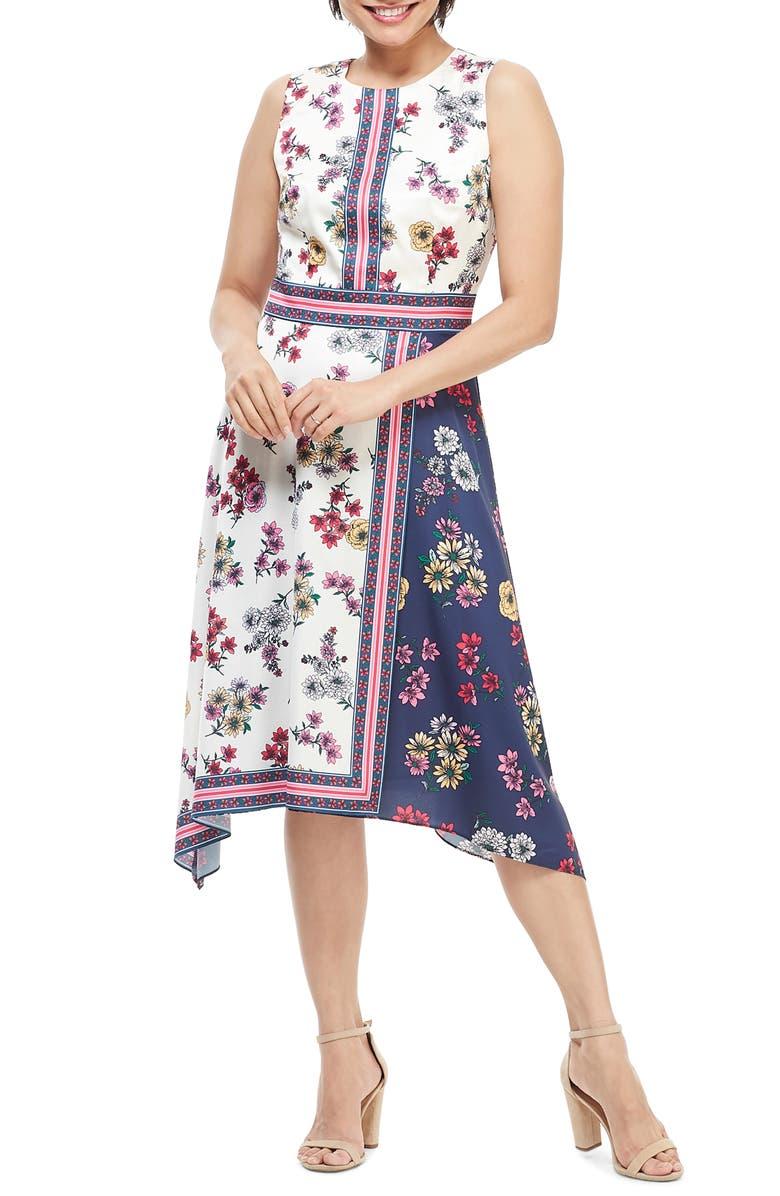 MAGGY LONDON Scarf Print Sleeveless Handkerchief Dress, Main, color, IVORY/ NAVY