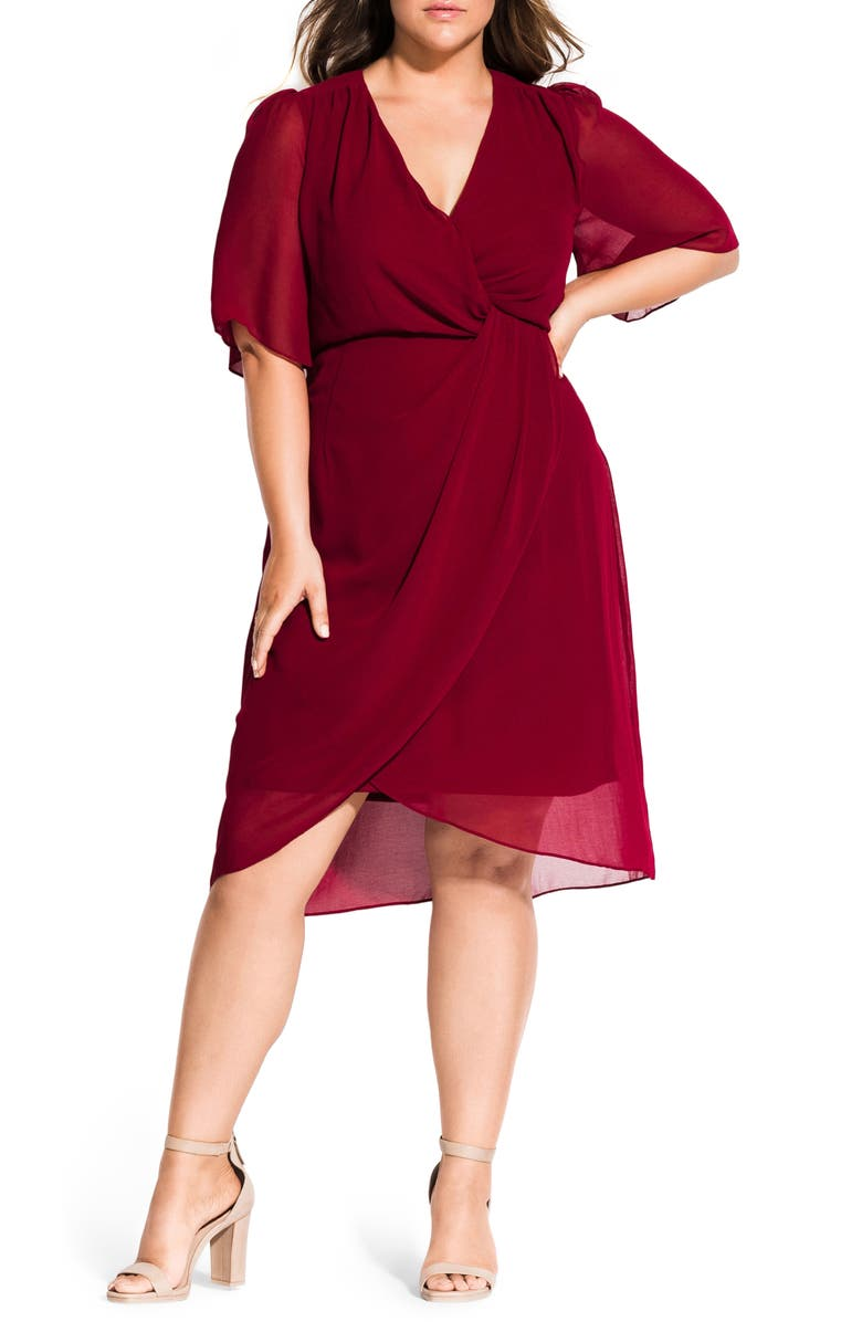 CITY CHIC Twist Love Dress, Main, color, RUBY