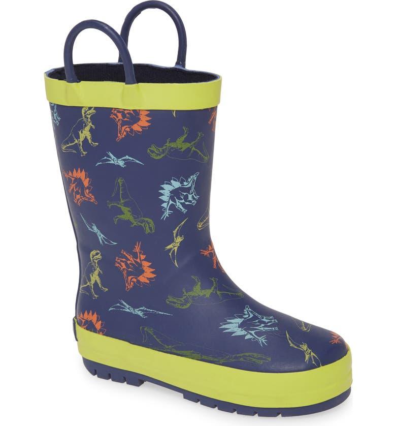 TUCKER + TATE Puddle Rain Boot, Main, color, NAVY MULTI RUBBER