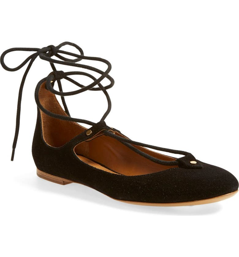 CHLOÉ 'Foster' Lace-Up Ballet Flat, Main, color, 001