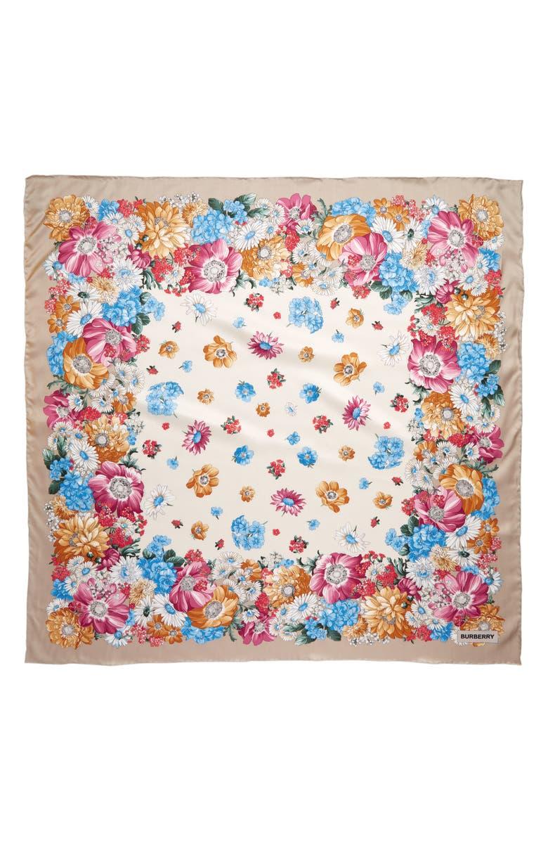 BURBERRY Floral Archive Silk Scarf, Main, color, MULTI COLOR