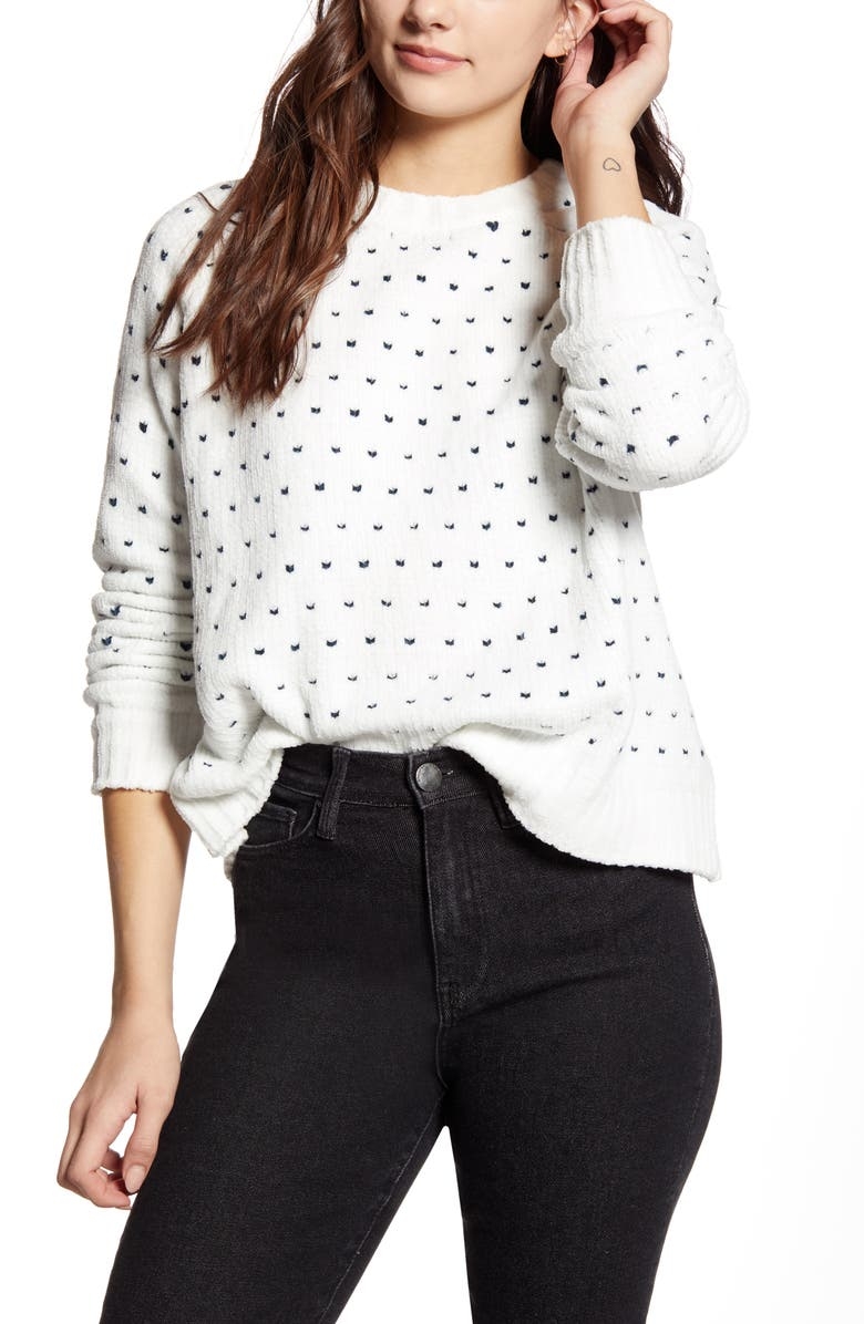 MINKPINK In Your Heart Sweater, Main, color, WHITE/ GREY