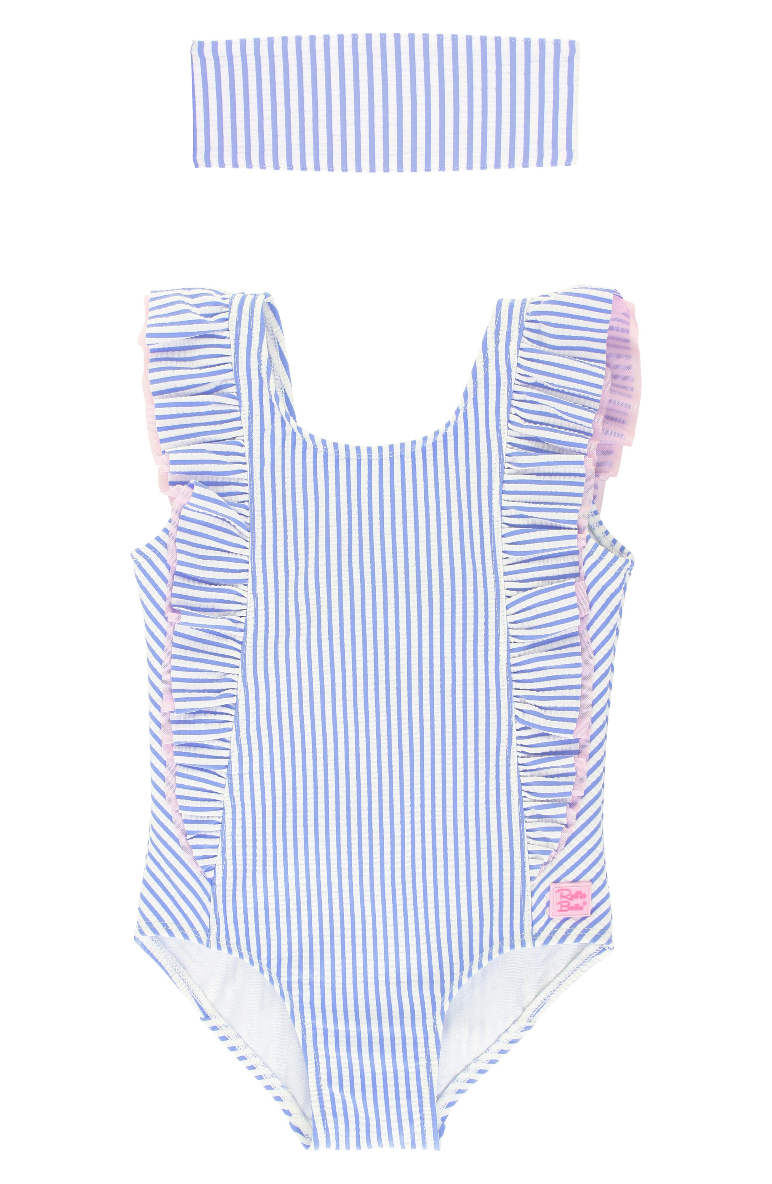 Seersucker stripes and signature ruffles make this one-piece swimsuit a beachy fave, while the matching head wrap provides an extra-sweet finishing touch. Style Name: Rufflebutts Seersucker Ruffle One-Piece Swimsuit & Head Wrap Set (Toddler Girls & Little Girls). Style Number: 6000248. Available in stores.