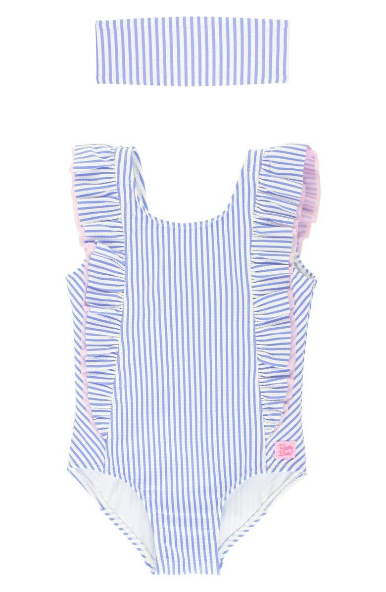 RUFFLEBUTTS Seersucker Ruffle One-Piece Swimsuit & Head Wrap Set, Main, color, 400