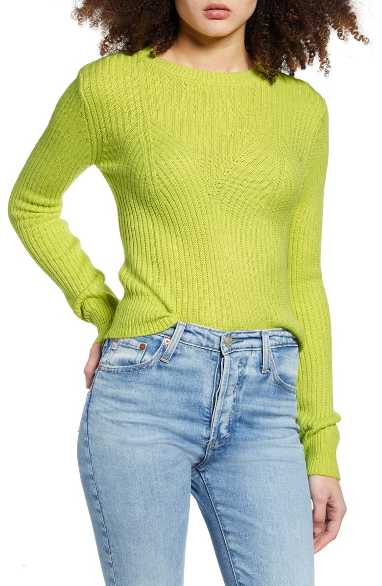 ENDLESS ROSE Fitted Sweater, Main, color, YELLOW