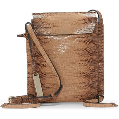 Vince Camuto Rilo Lizard Embossed Leather Crossbody Bag - Brown