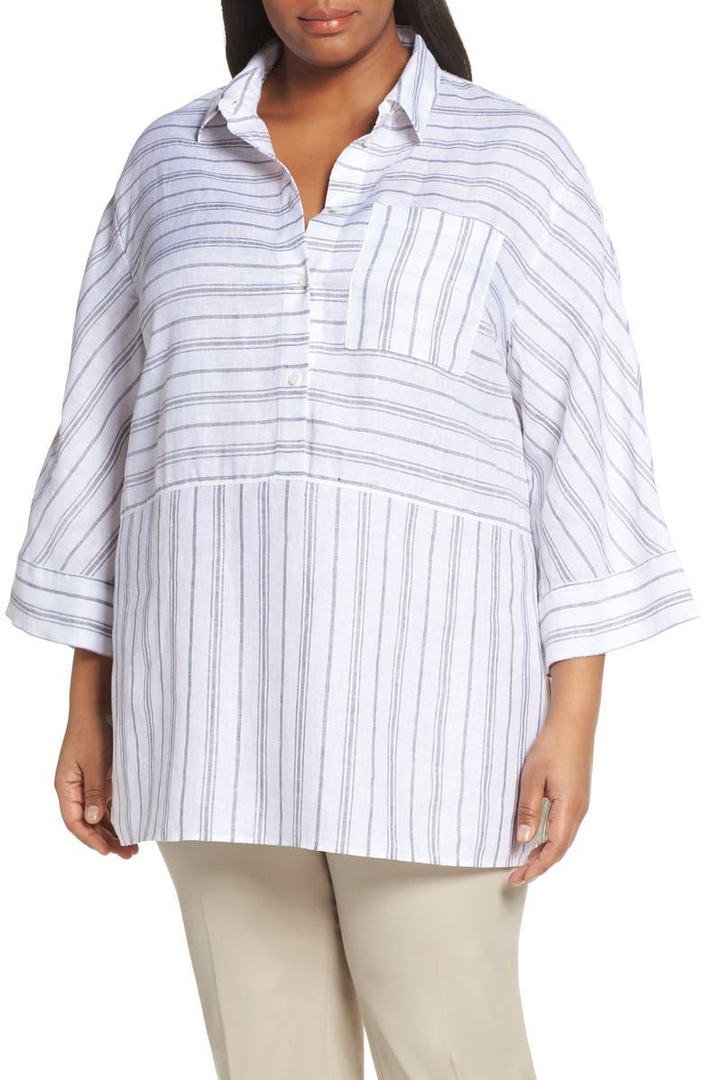 LAFAYETTE 148 NEW YORK Malaysia Stripe Tunic Top, Main, color, 100