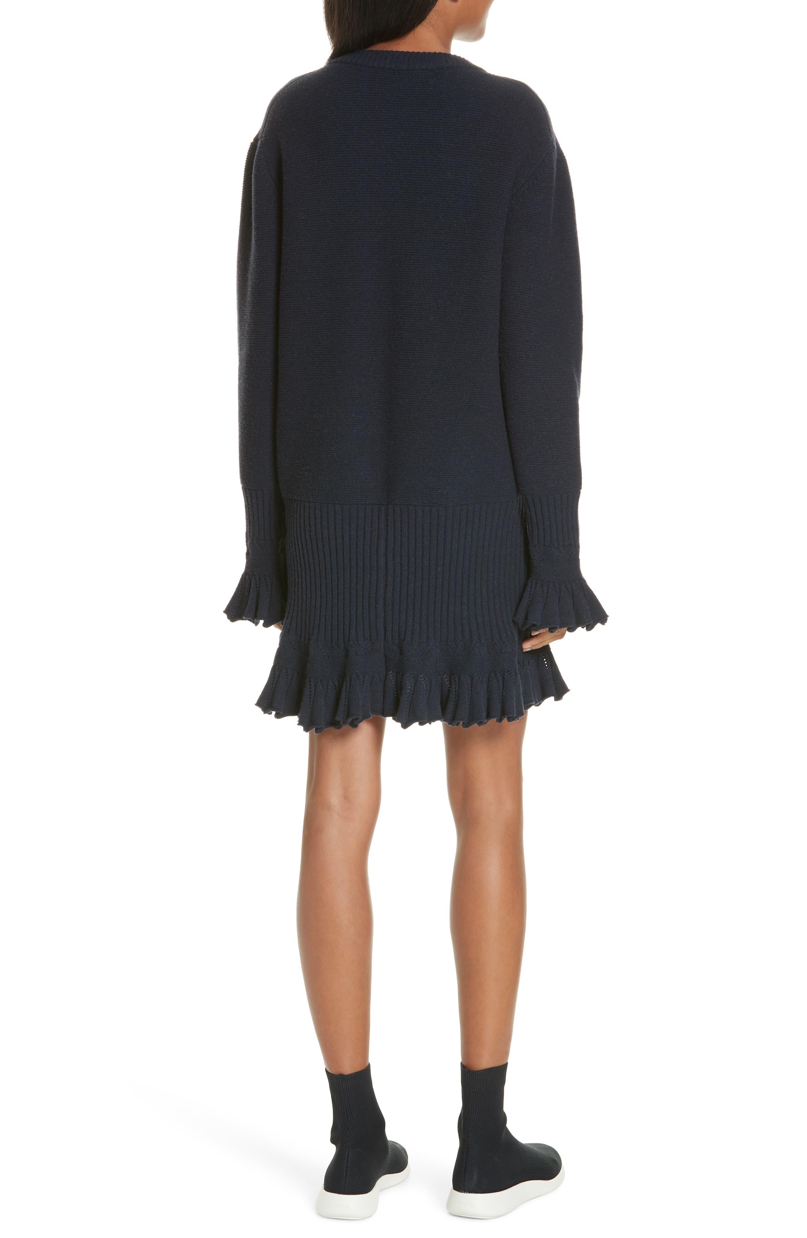,                             Ruffle Trim Sweater Dress,                             Alternate thumbnail 2, color,                             NAVY