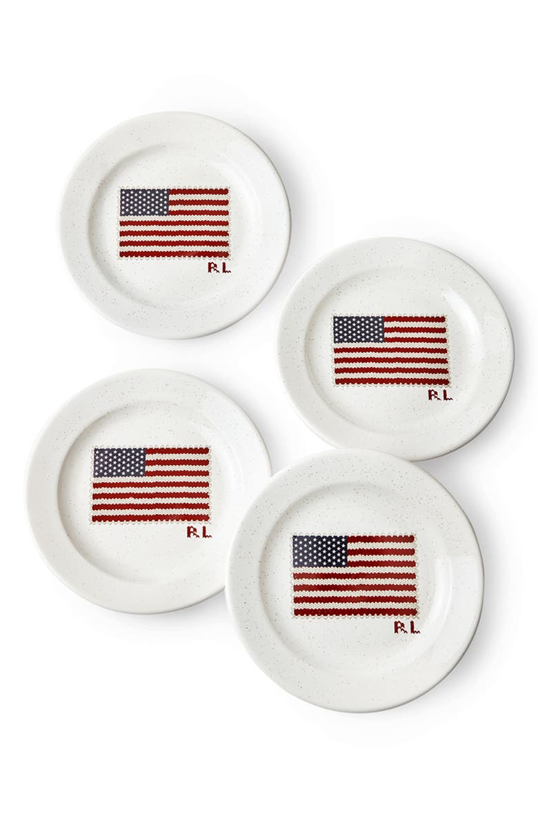 RALPH LAUREN Bradfield Set of 4 Dessert Plates, Main, color, WHITE