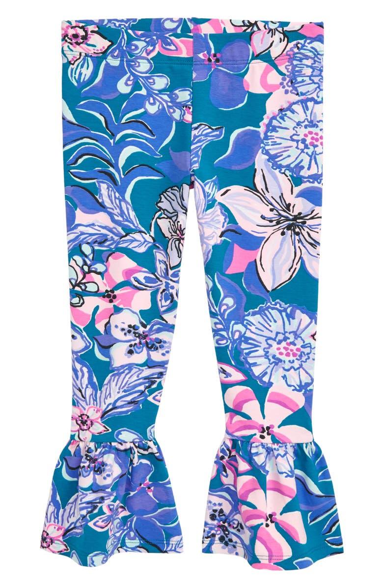 LILLY PULITZER<SUP>®</SUP> Vanya Bell Hem Leggings, Main, color, TEAL MOONLIGHT GARDEN
