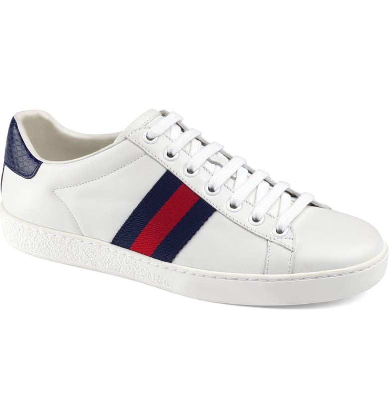 GUCCI New Ace Sneaker, Main, color, WHITE/ BLUE