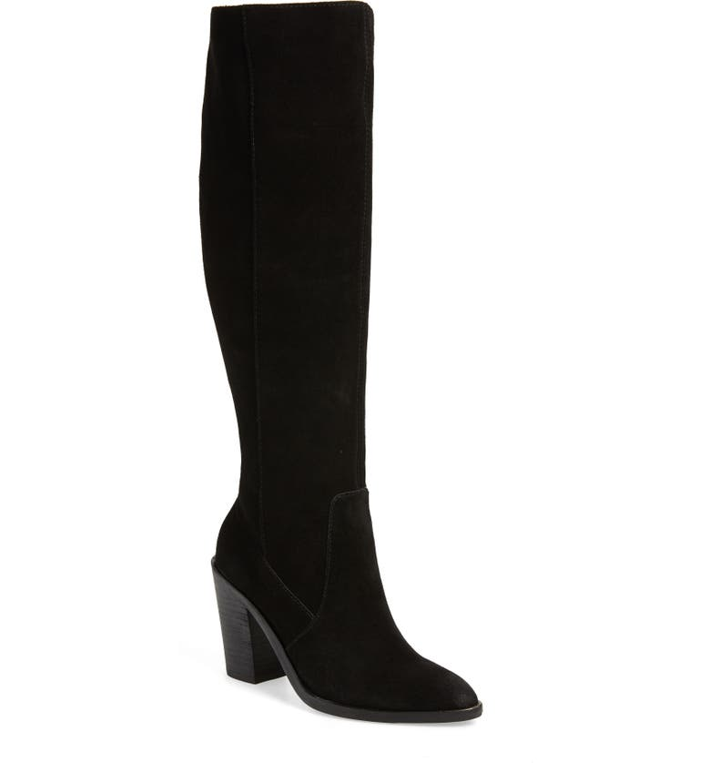 TREASURE & BOND Zoe Knee High Boot, Main, color, BLACK SUEDE