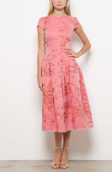 Silk Jacquard Twig Fit & Flare Midi Dress, video thumbnail