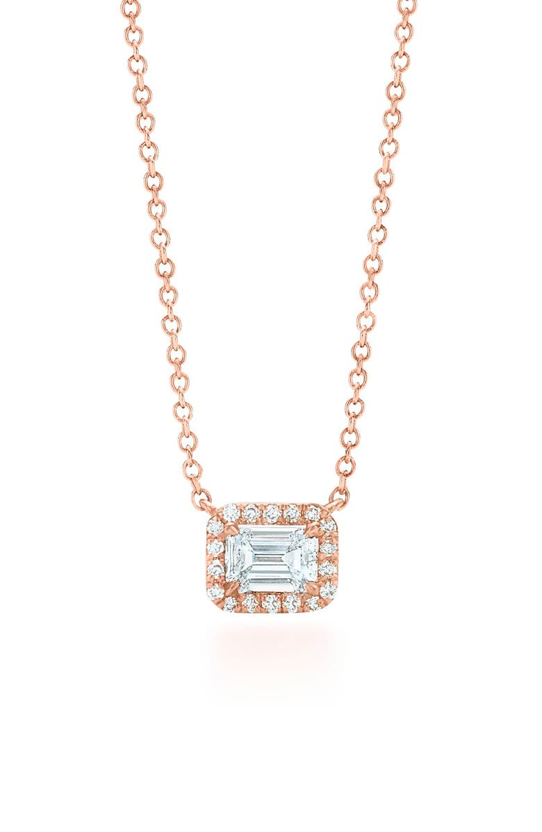 KWIAT Emerald Cut Diamond Pendant Necklace, Main, color, ROSE GOLD