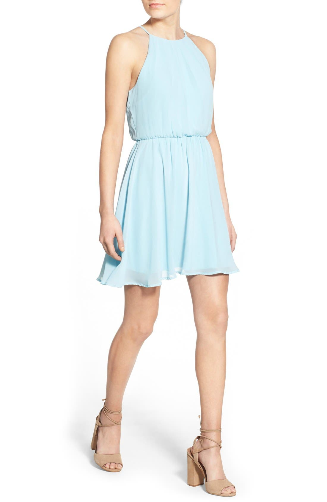 ,                             Blouson Chiffon Skater Dress,                             Alternate thumbnail 158, color,                             450