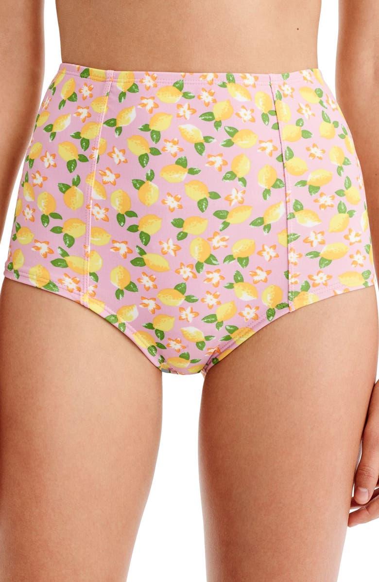 J.CREW Lemon Print High Waist Bikini Bottoms, Main, color, 702