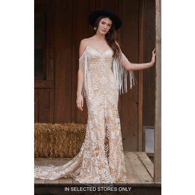 Willowby Dakota Fringe Detail Lace Sheath Wedding Dress, Size IN STORE ONLY - Ivory