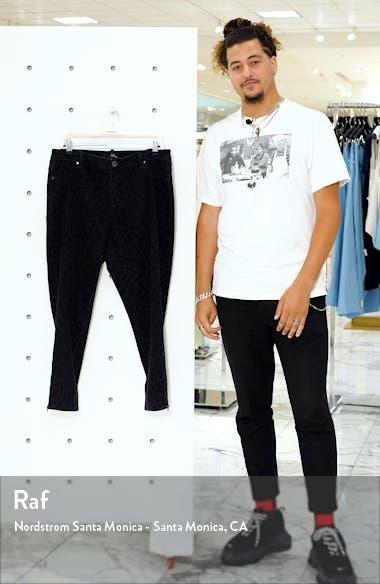 Tonal Leopard Print Ankle Zip Skinny Jeans, sales video thumbnail