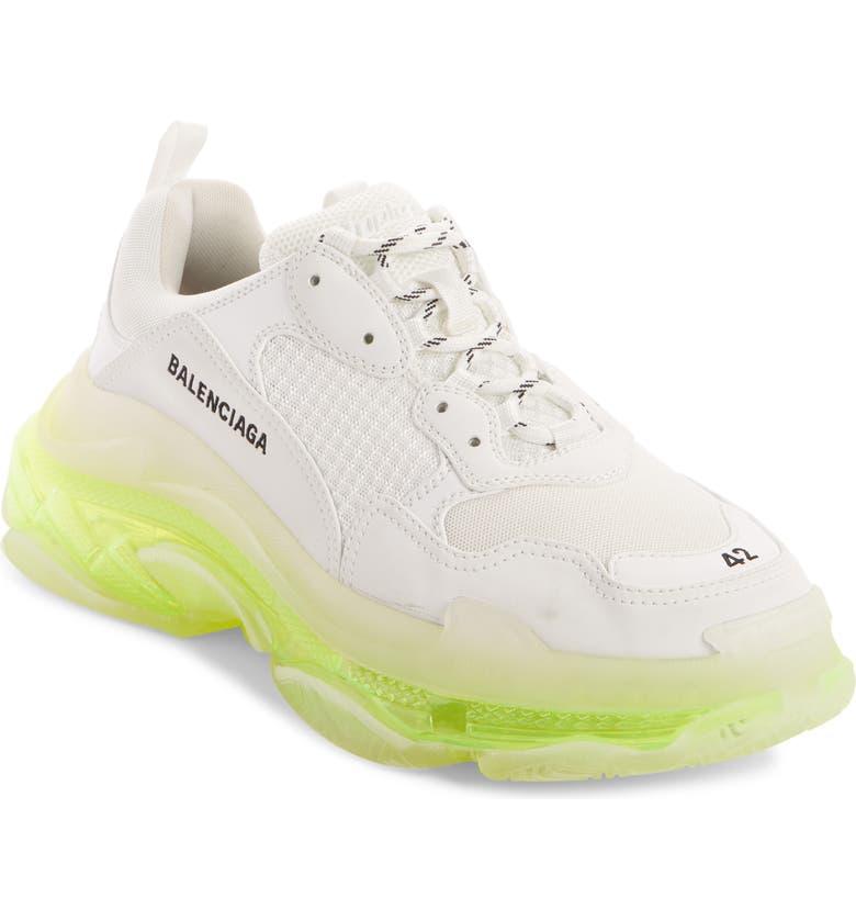 BALENCIAGA Triple-S Air Retro Sneaker, Main, color, WHITE/ FLUORESCENT YELLOW
