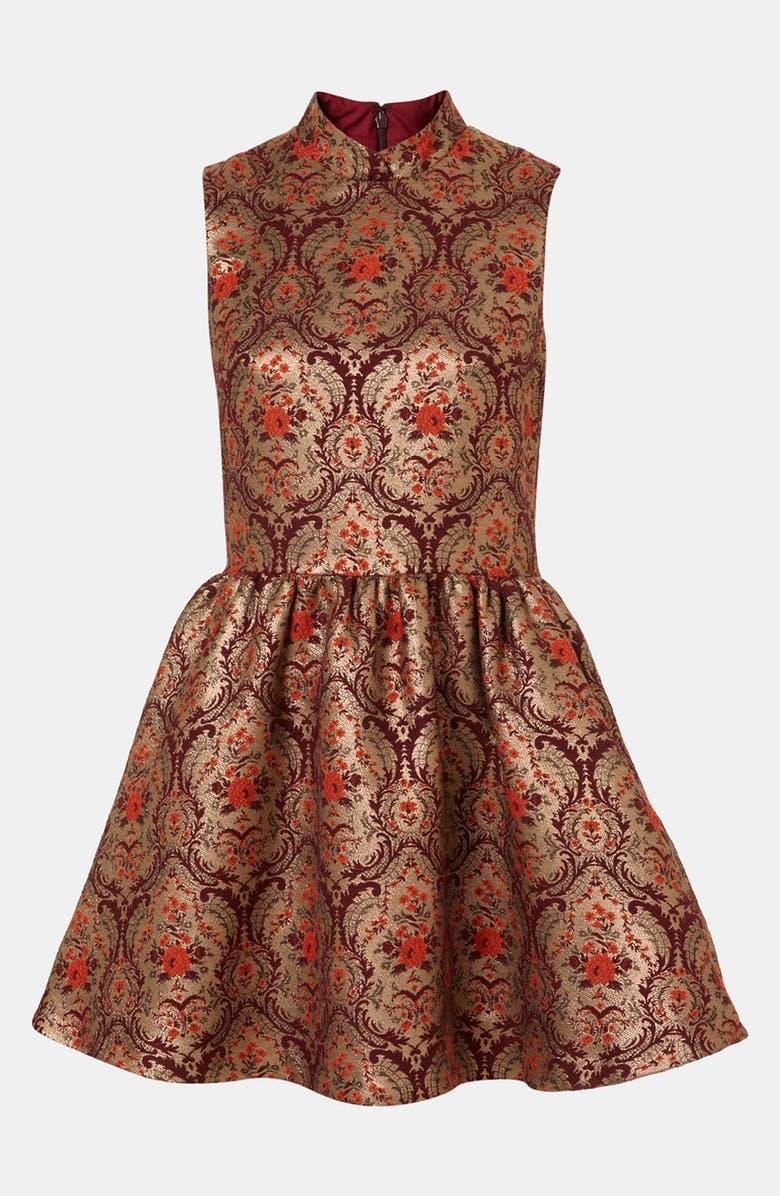 TOPSHOP Jacquard Skater Dress, Main, color, 930