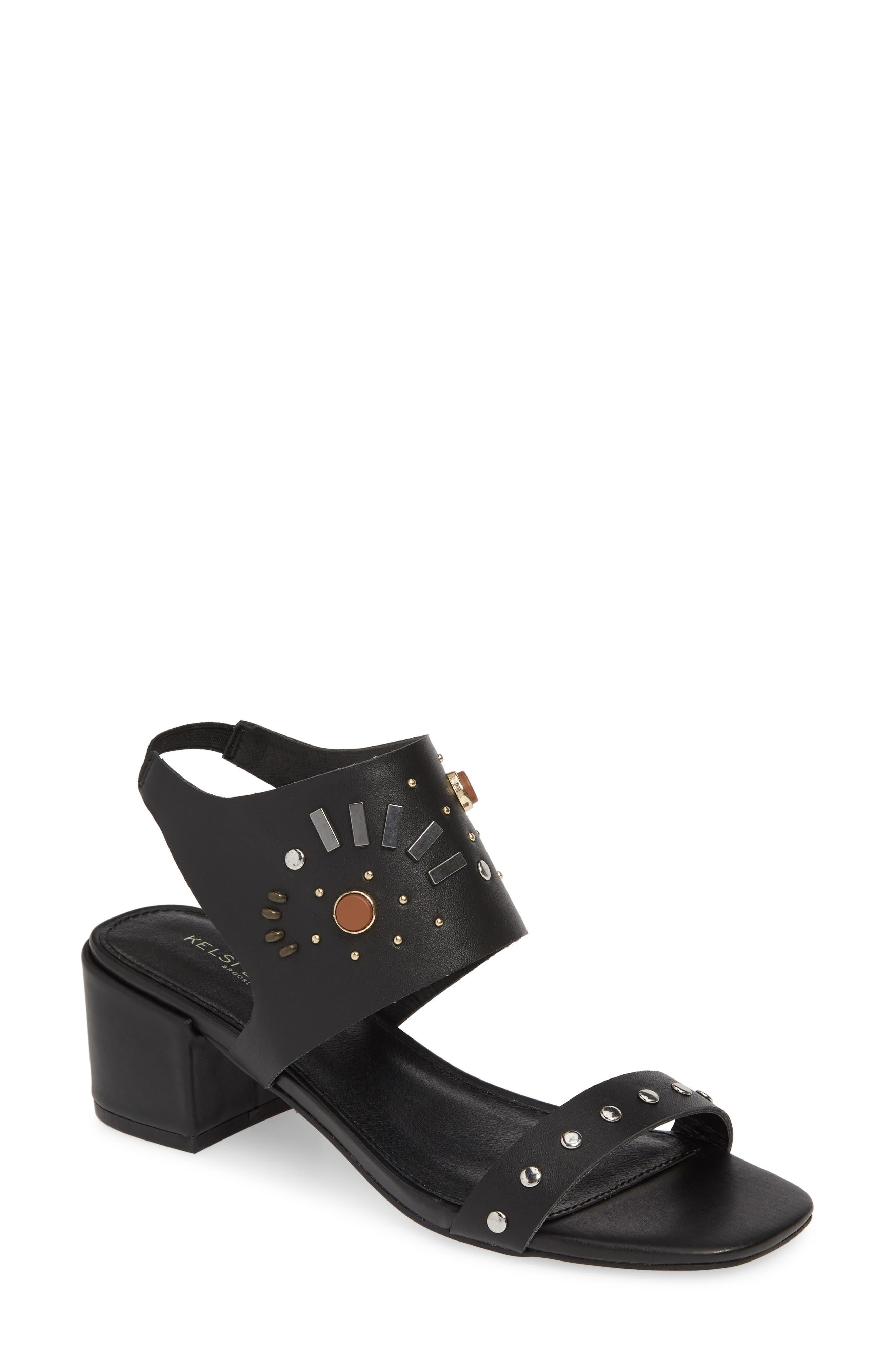 Studded Sandal, Main, color, BLACK