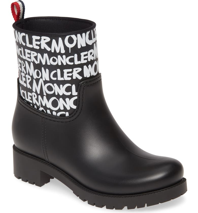 MONCLER Ginette Stivale Logo Waterproof Rain Boot, Main, color, BLACK