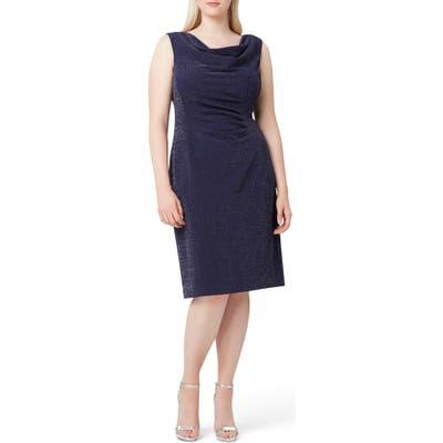 Plus Size Tahari Sleeveless Metallic Crepe Sheath Dress, Blue