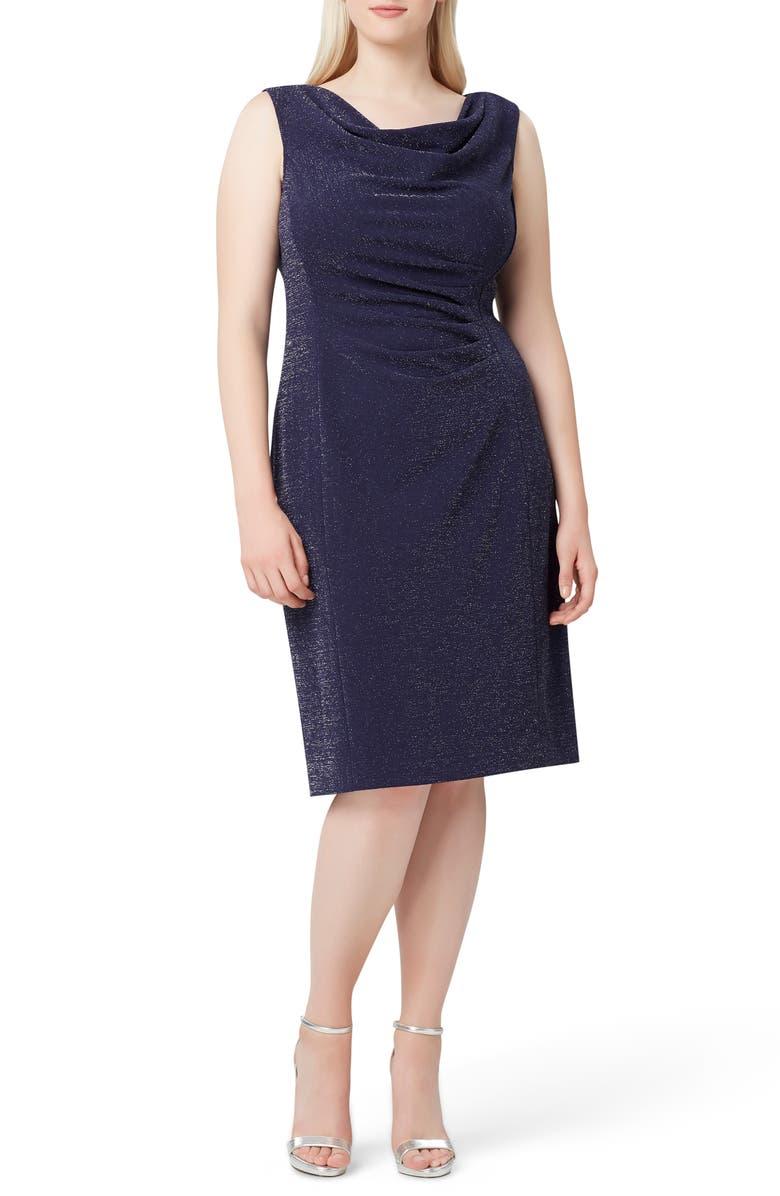 TAHARI Sleeveless Metallic Crepe Sheath Dress, Main, color, NAVY