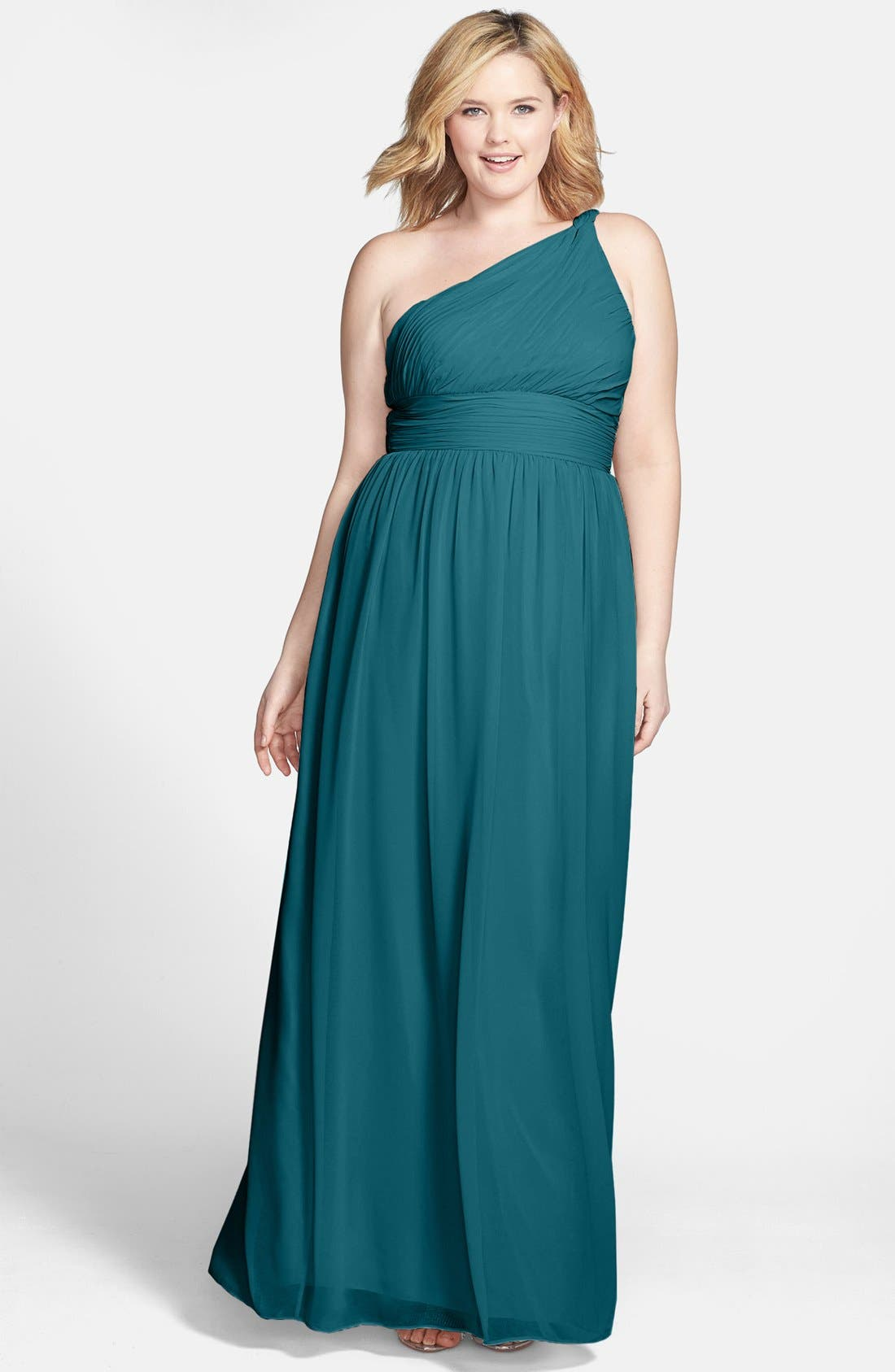 ,                             'Rachel' Ruched One-Shoulder Chiffon Gown,                             Alternate thumbnail 46, color,                             324