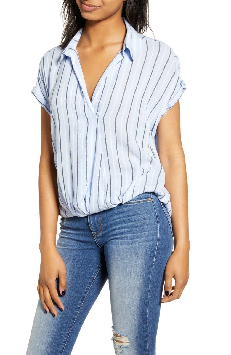 BP. Surplice Stripe Shirt, Main, color, BLUE CASHMERE FAYE STRIPE