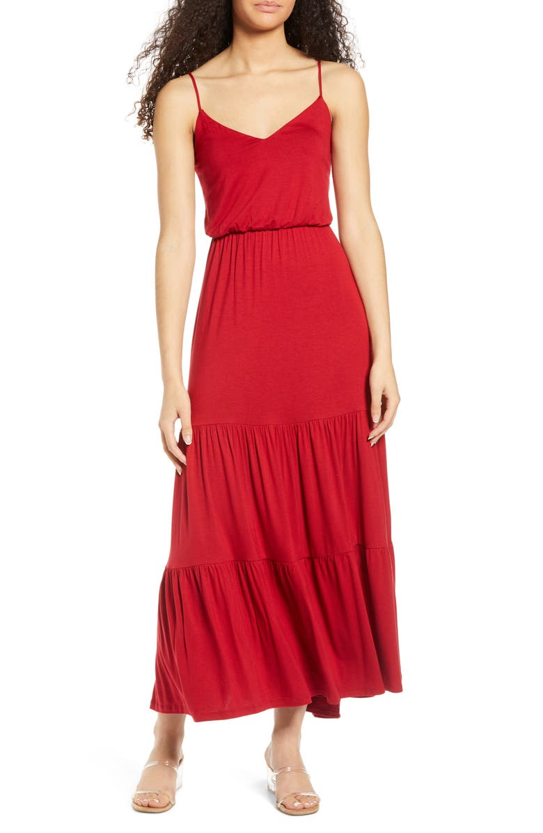 ALL IN FAVOR Tiered Cami Maxi Dress, Main, color, TANGO RED