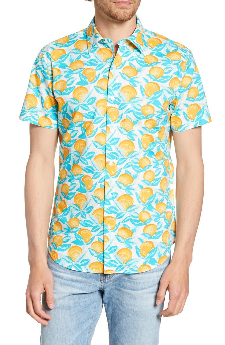 BONOBOS Riviera Slim Fit Orange Print Shirt, Main, color, ORANGE GROVE