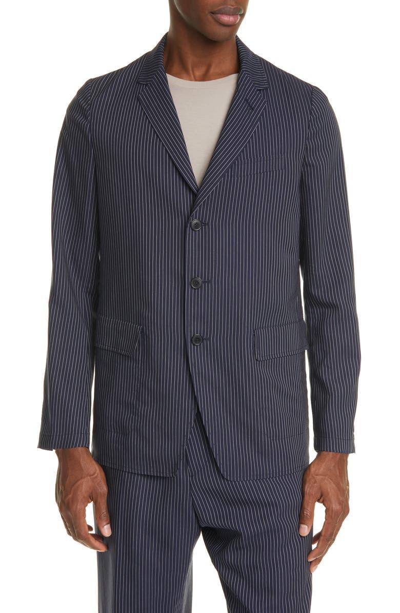 DRIES VAN NOTEN Bilboa Pinstripe Sport Jacket, Main, color, NAVY