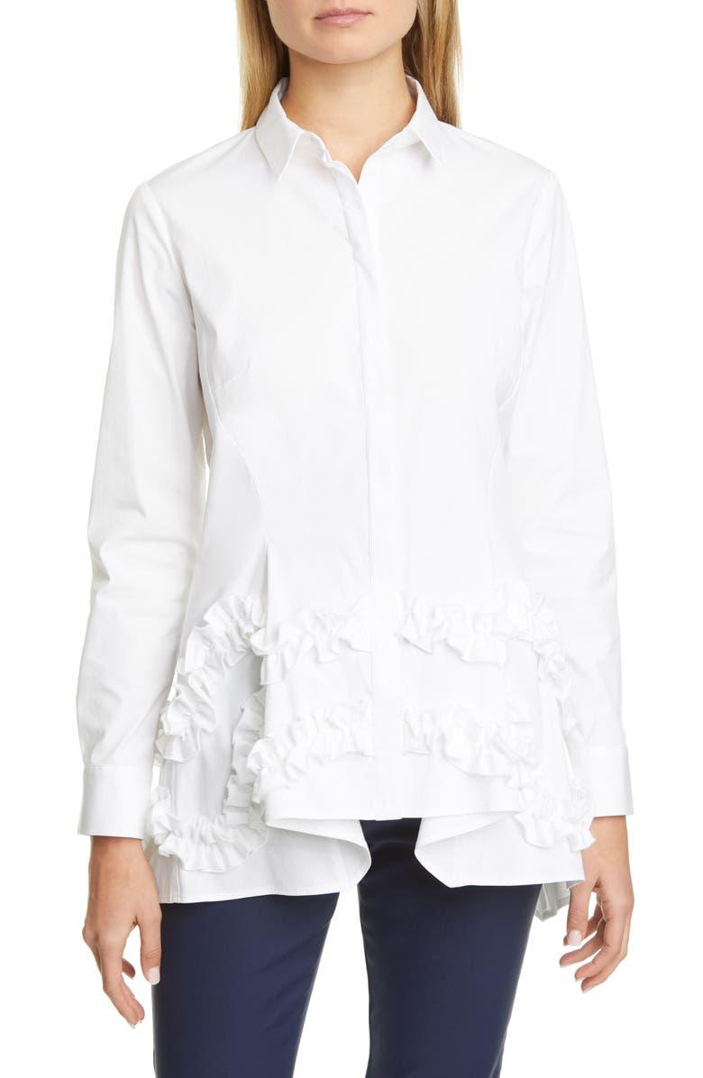 LELA ROSE Ruffle Flare Hem Stretch Poplin Shirt, Main, color, 110