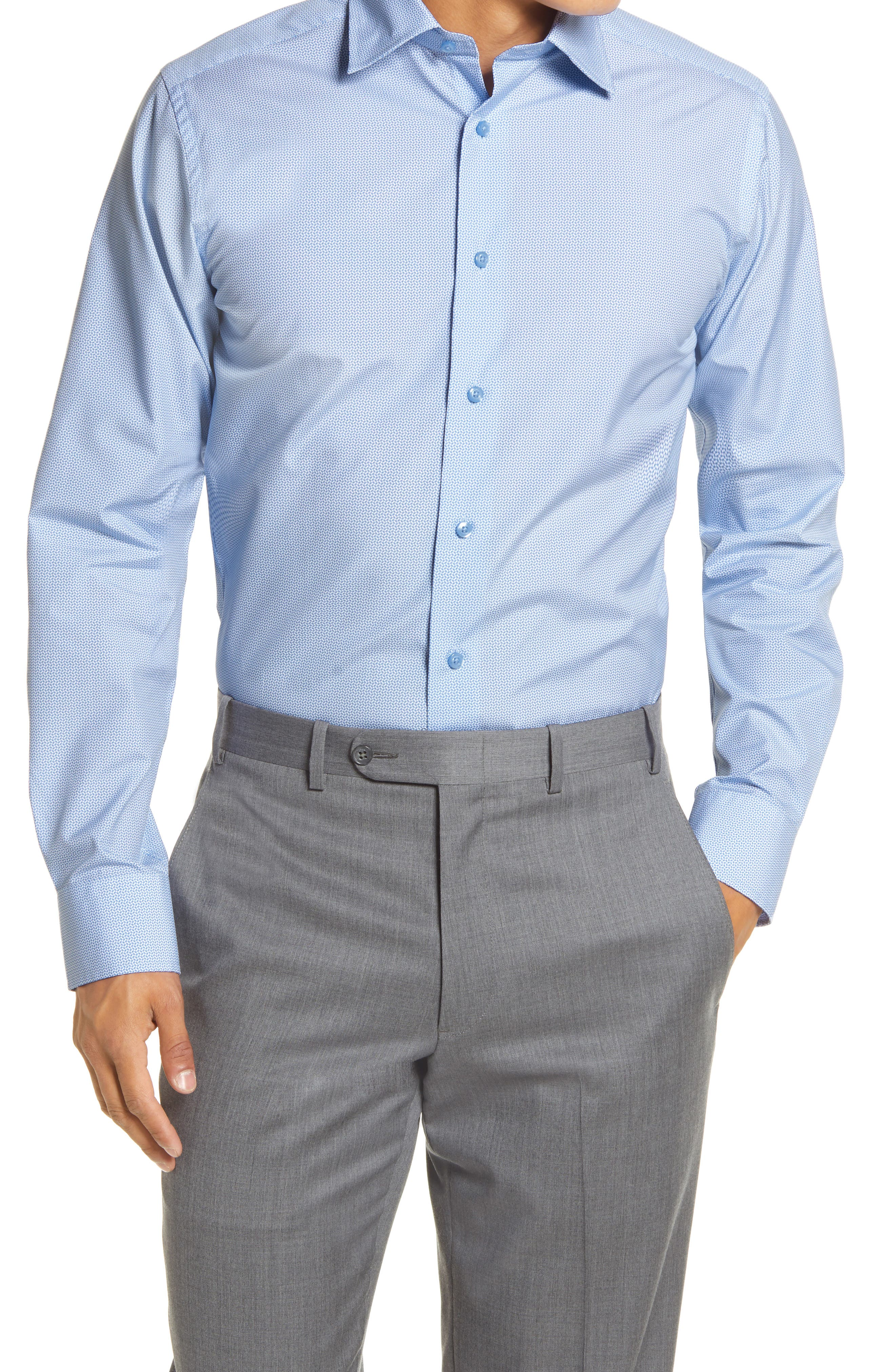 Trim Fit Geo Print Dress Shirt