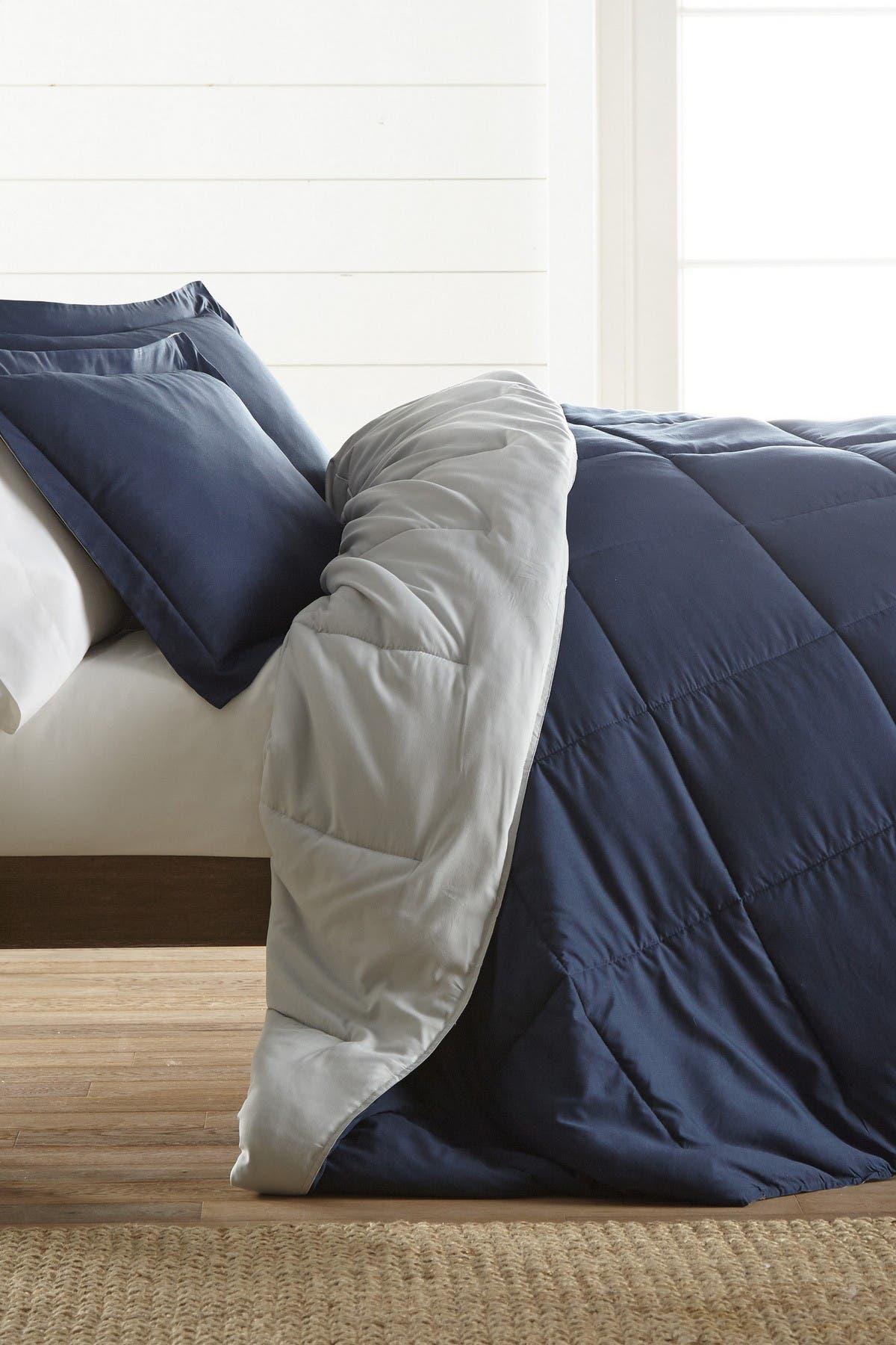 Image of IENJOY HOME Treat Yourself To The Ultimate Down Alternative Reversible 3-Piece Comforter Set - Navy - Queen
