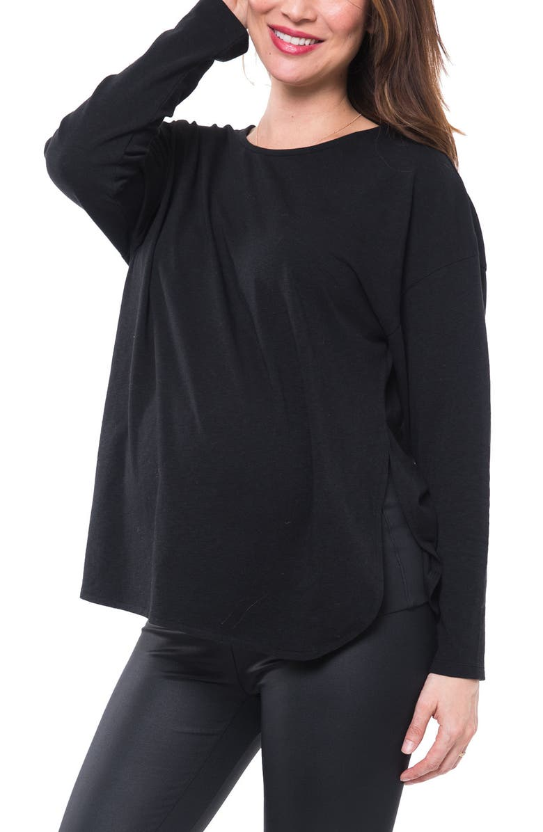 NOM MATERNITY Gemma Jersey Nursing & Maternity Top, Main, color, BLACK