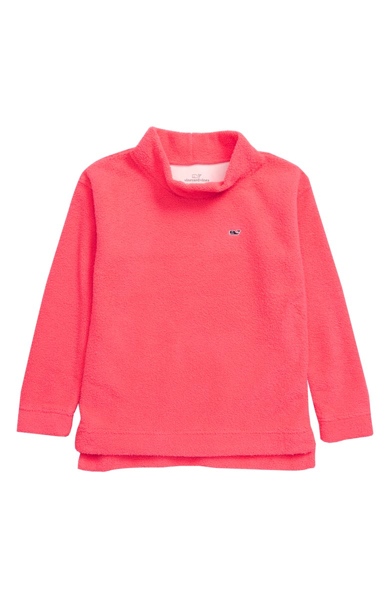 VINEYARD VINES Fuzzy Mock Neck Top, Main, color, CERISE