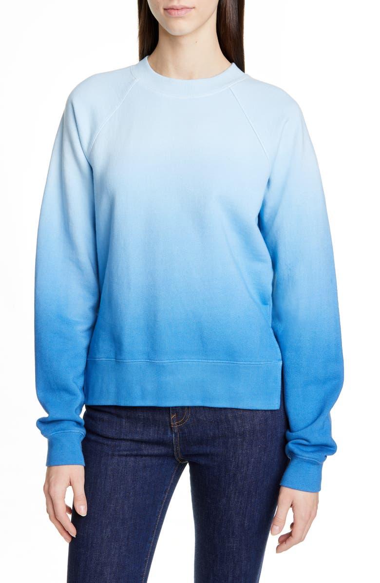 PROENZA SCHOULER WHITE LABEL Proenza Schouler PSWL Slit Hem Ombré Sweatshirt, Main, color, BLUE TIE DYE
