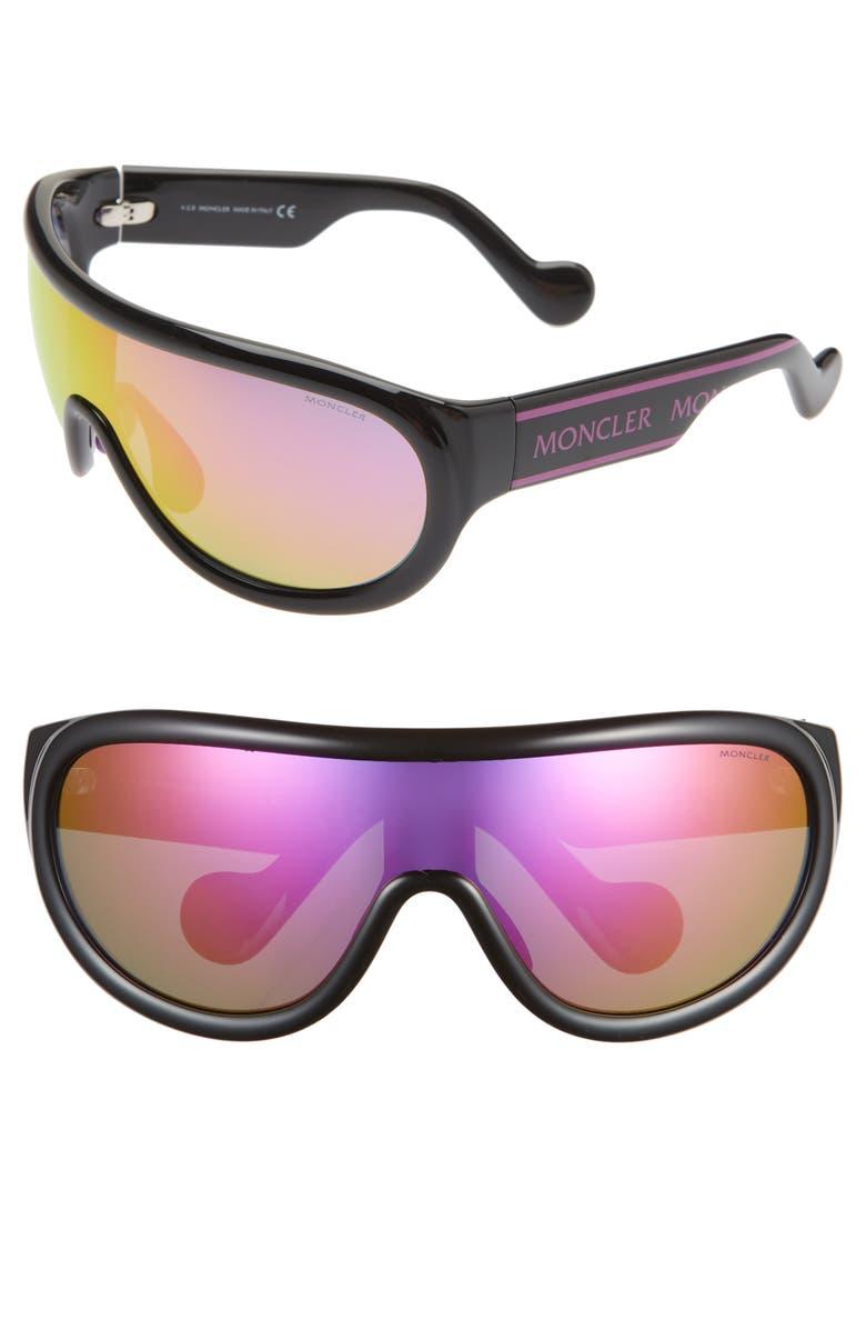 MONCLER 155mm Mirrored Shield Sunglasses, Main, color, SHINY BLACK/ BORDEAUX MIRROR
