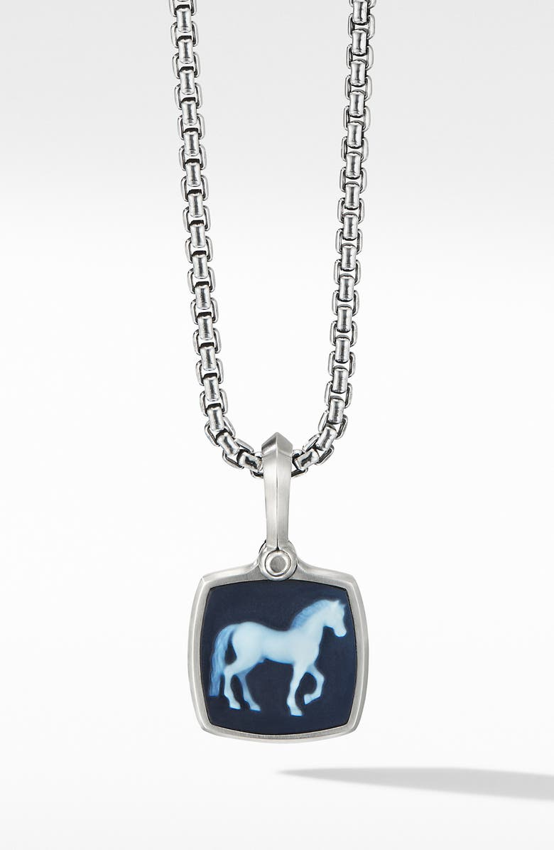DAVID YURMAN Petrvs<sup>®</sup> Horse Amulet with Banded Agate, Main, color, SILVER/ BANDED AGATE