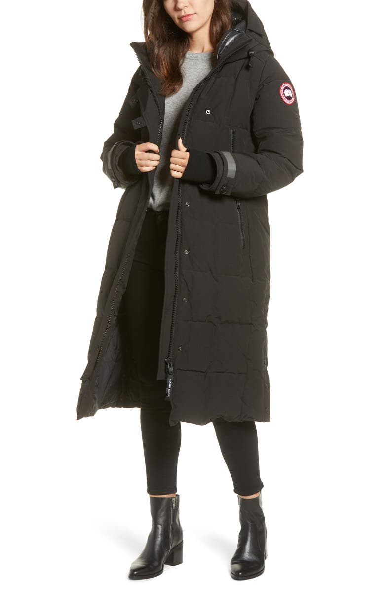 CANADA GOOSE Elmwood Longline 625 Fill Power Down Jacket, Main, color, BLACK