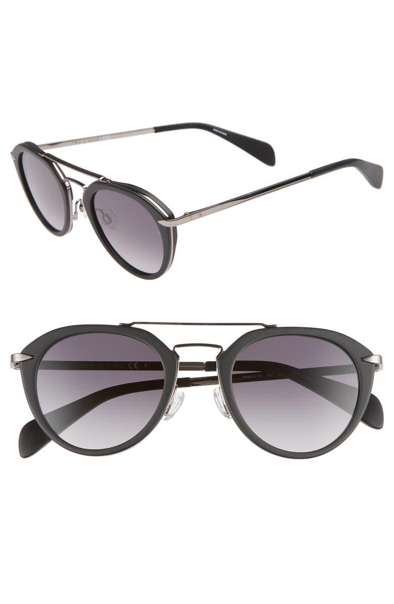 RAG & BONE 49mm Round Aviator Sunglasses, Main, color, BLACK