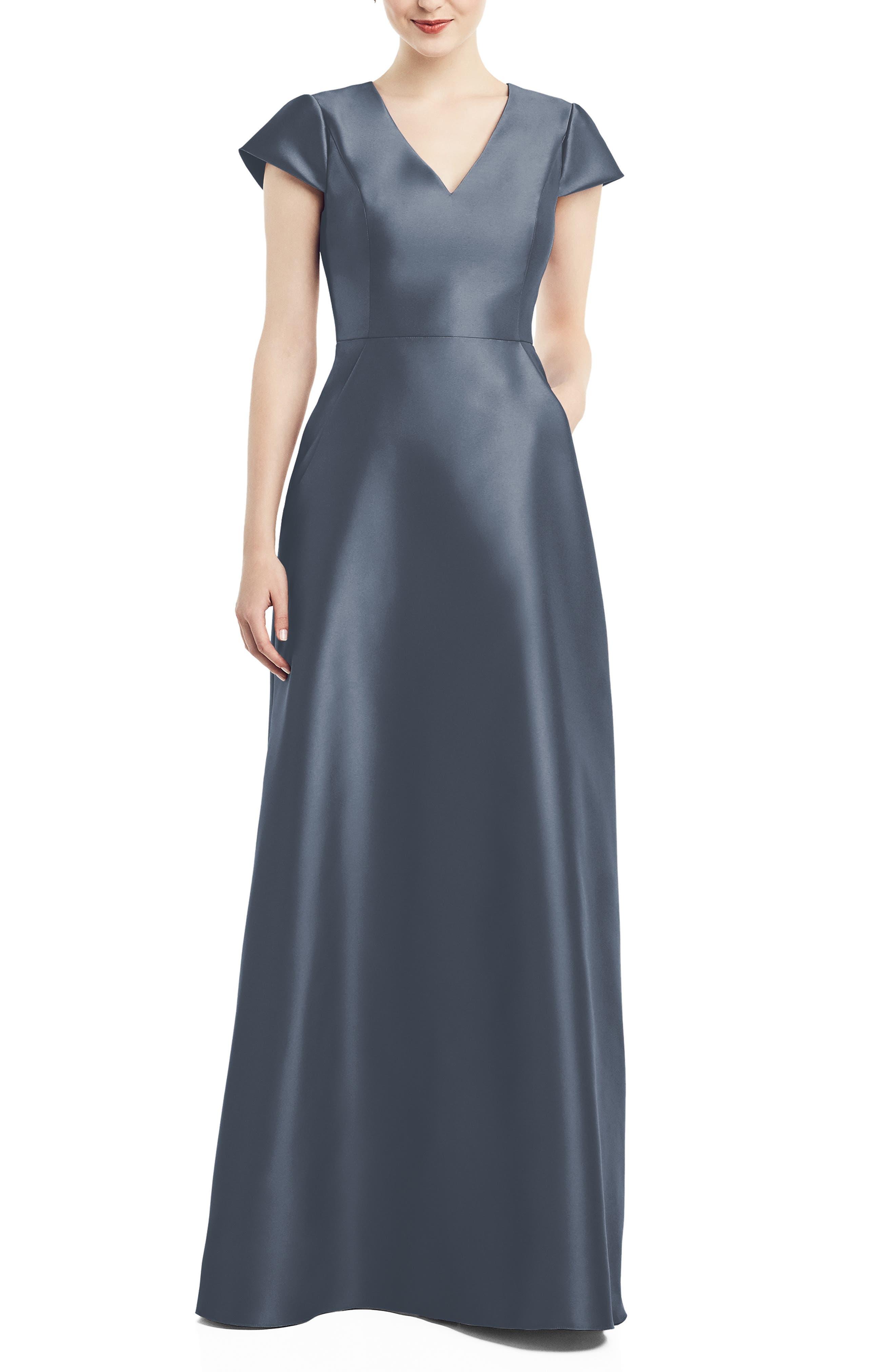 V-Neck Satin Cap Sleeve Gown