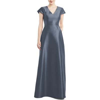 Alfred Sung V-Neck Satin Cap Sleeve Gown, Blue