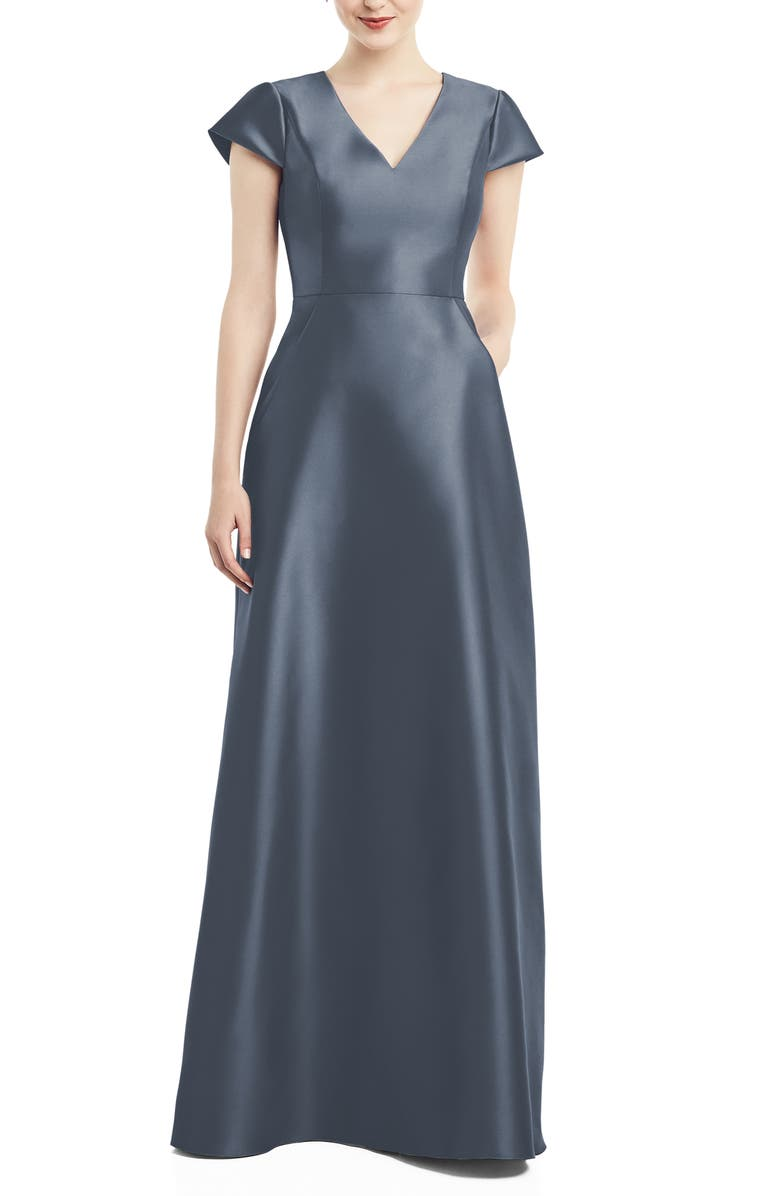 ALFRED SUNG V-Neck Satin Cap Sleeve Gown, Main, color, SILVERSTONE