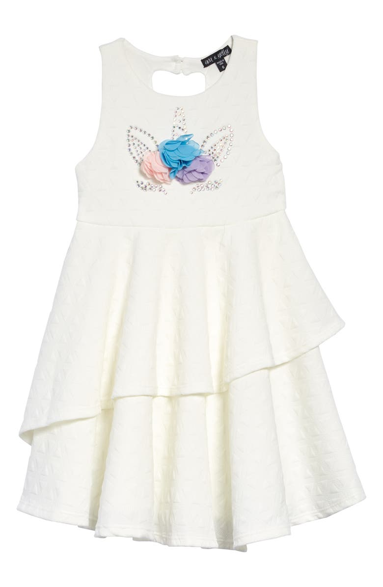 AVA & YELLY Tiered Unicorn Dress, Main, color, WHITE NEW