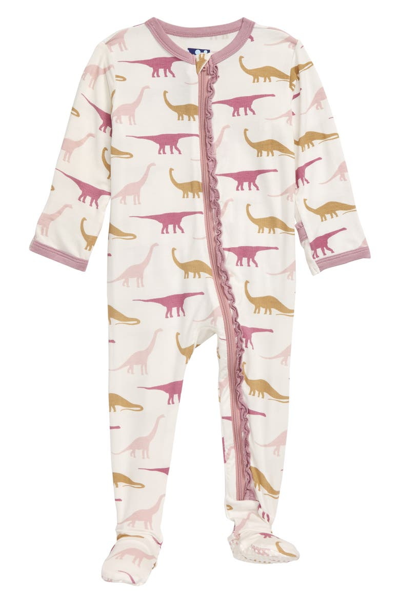 KICKEE PANTS Muffin Ruffle Footie, Main, color, NATURAL SAUROPODS